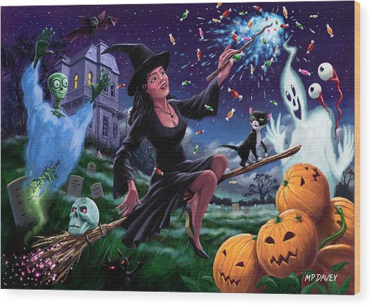Happy Halloween Witch With Graveyard Friends Wood Print