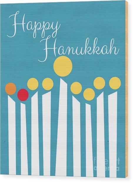 Happy Hanukkah Menorah Card Wood Print