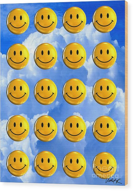 Happy Happy Sunshine Day Bubble Smile Smiley Poster Print Original Signed Art Wood Print
