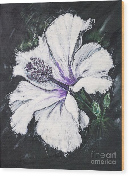 Happy Hibiscus Wood Print