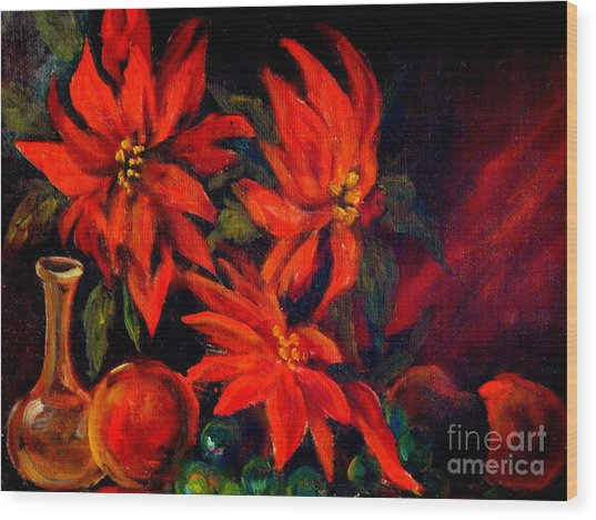 New Orleans Red Poinsettia Oil Painting Wood Print