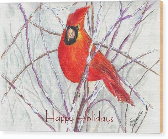 Happy Holidays Snow Cardinal Wood Print