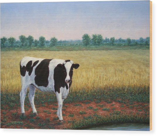 Happy Holstein Wood Print