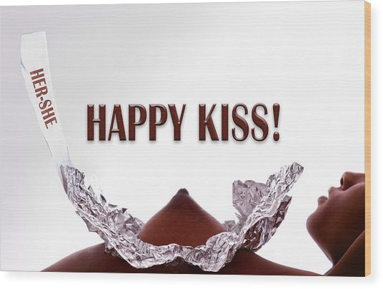 Happy Kiss Wood Print by Dario Infini