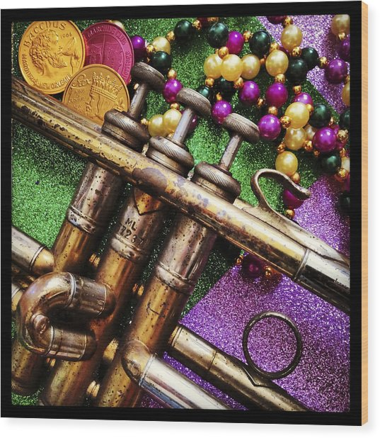 Happy Mardi Gras Wood Print