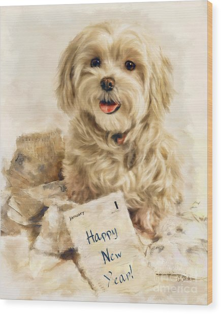 Maltese Happy New Year Wood Print
