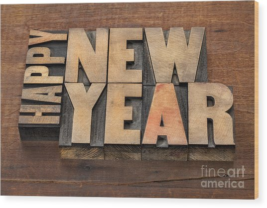 Happy New Year Wood Print