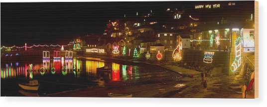Happy New Year Mousehole Christmas Lights Wood Print