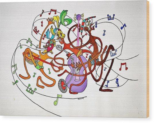 Happy People Trio Wood Print by Glenn Calloway