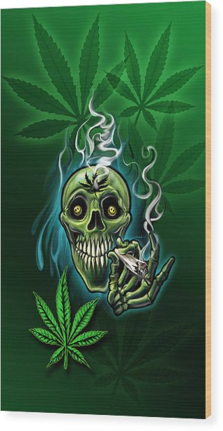 Happy Pot Head Wood Print