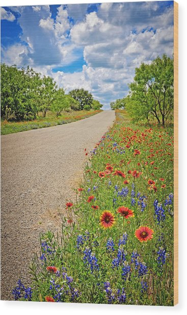 Happy Road Wood Print