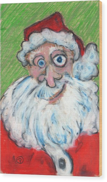 happy Santa Wood Print