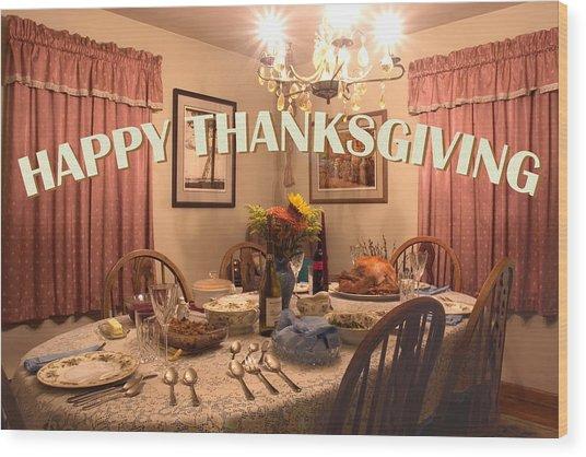 Happy Thanksgiving Card Wood Print
