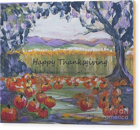 Happy Thanksgiving Greeting Card Wood Print