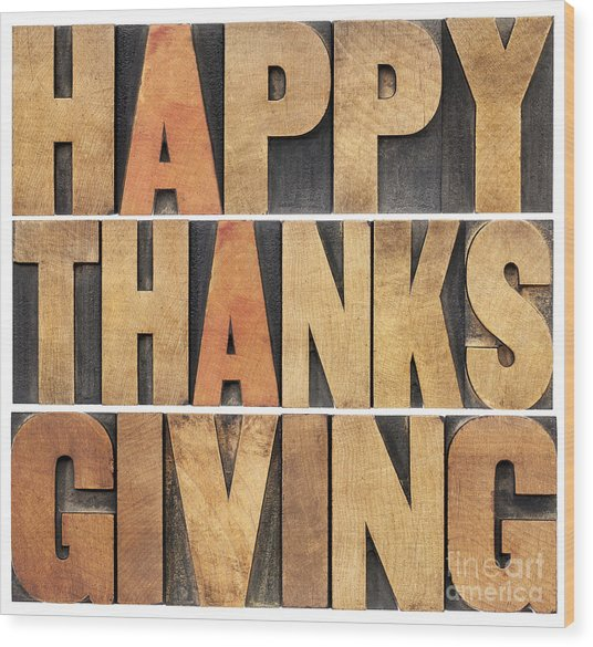 Happy Thanksgiving Wood Print