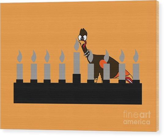 Happy Thanksgivukkah Menorah Wood Print