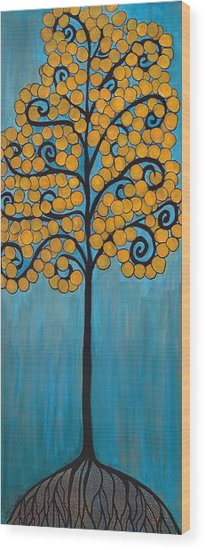Happy Tree In Blue And Gold Wood Print
