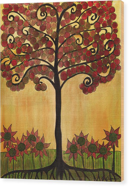 Happy Tree In Red Wood Print