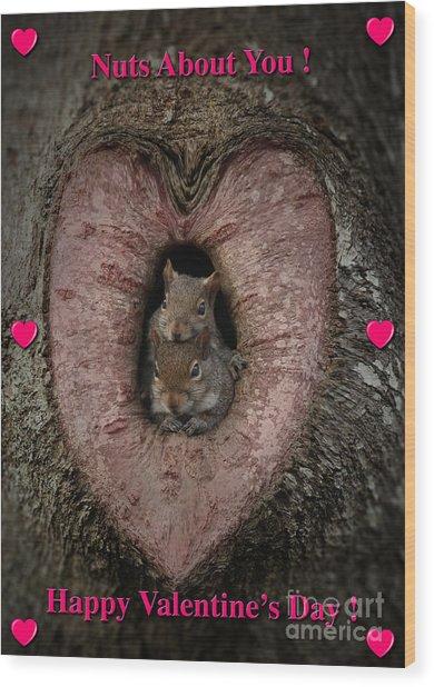 Happy Valentine Squirrels Wood Print