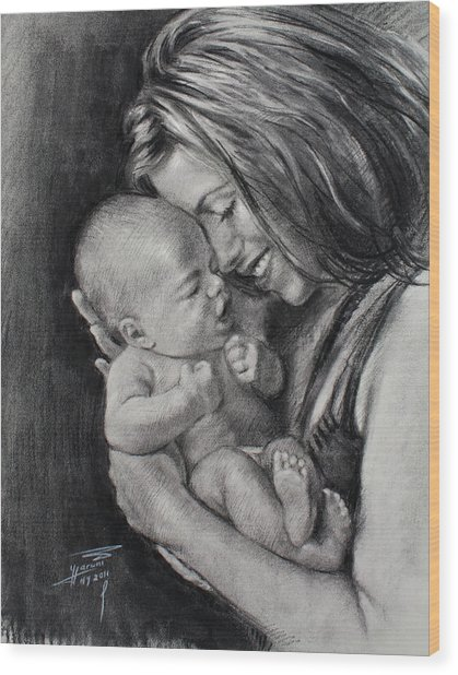 Happy Young Mother Wood Print