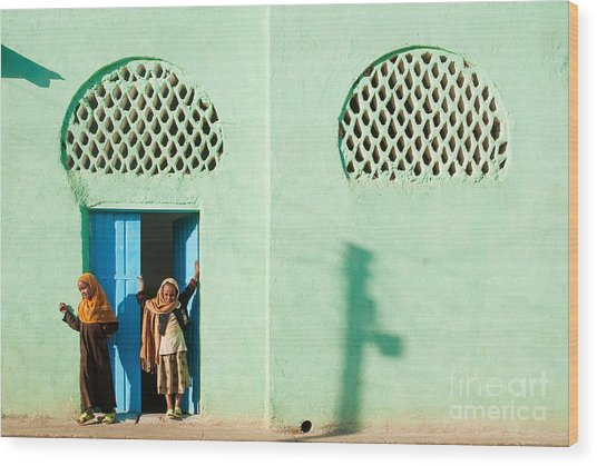 Harar Ethiopia Old Town City Mosque Girls Children Wood Print
