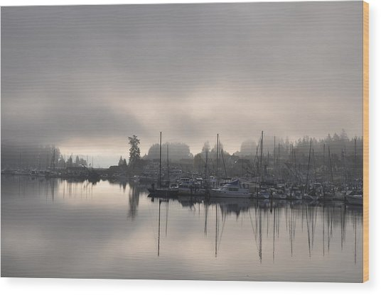 Harbor At Dawn 2 Wood Print