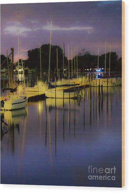 Harbor At Night Wood Print