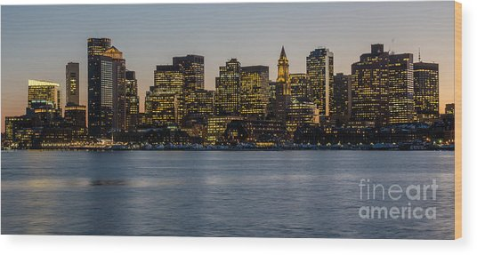 Harbor City Wood Print