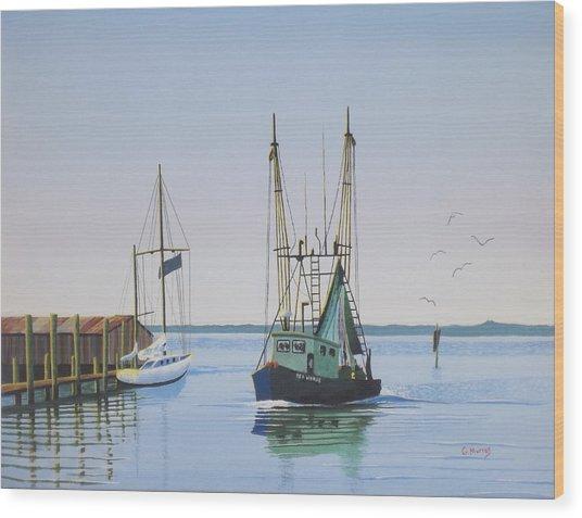 Harbor Days End Wood Print