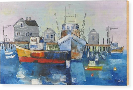 Harbor In The Maine Wood Print