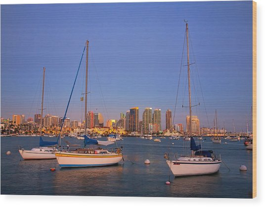 Harbor Sailboats Wood Print