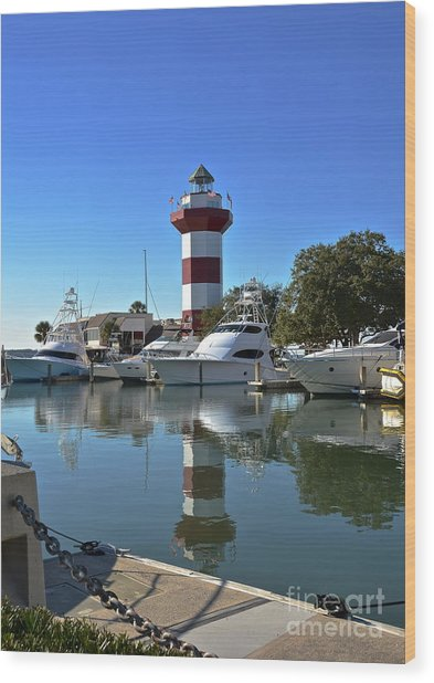 Harbor Town Lighthouse Wood Print