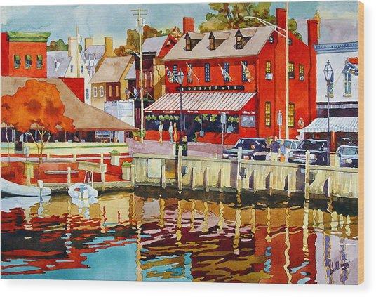 Harborfront Tavern Wood Print