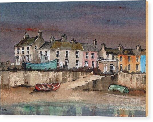 Harbour Dusk Greystones Wicklow Wood Print