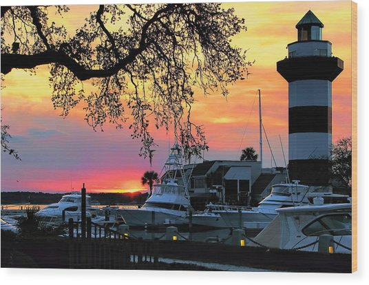 Harbour Town Sundown Wood Print
