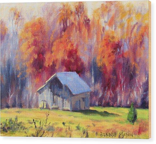 Hardy Road Barn- In Autumn Wood Print