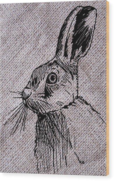 Hare On Burlap Wood Print