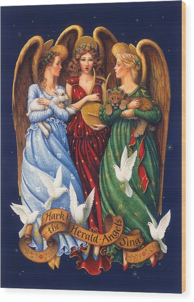 Hark The Herald Angels Sing Wood Print