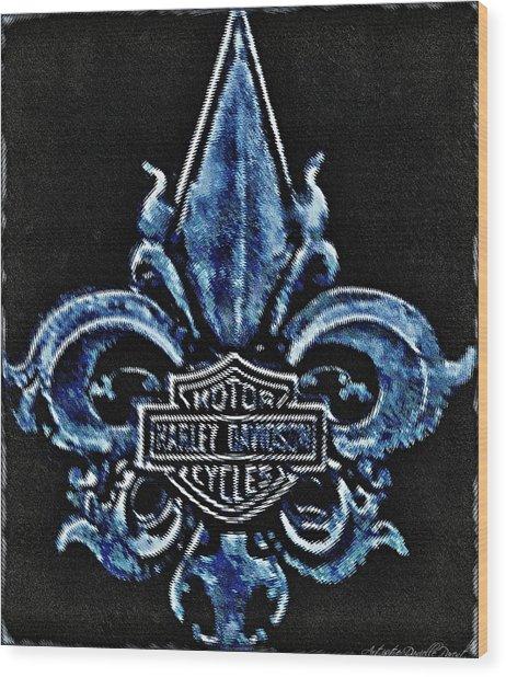 Harley Davidson Fleur De Lys Logo Wood Print