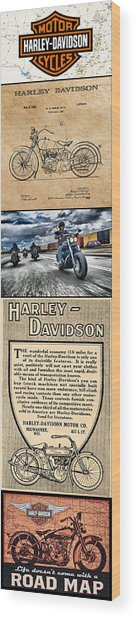Harley-davidson Montage With Austin Map Wood Print