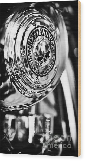 Harley Davidson Skull Casing Wood Print
