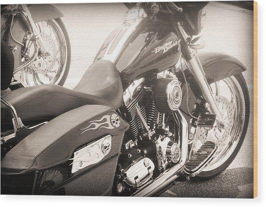 Harley Davidson With Flaming Skulls Wood Print