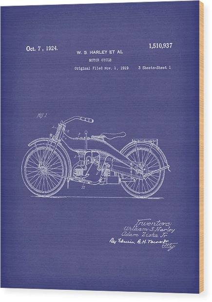 Harley Motorcycle 1924 Patent Art Blue Wood Print by Prior Art Design