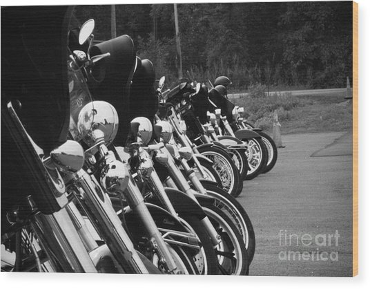 Harleys All In A Row Wood Print