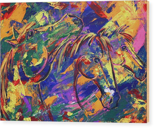 Harmony Horses Wood Print