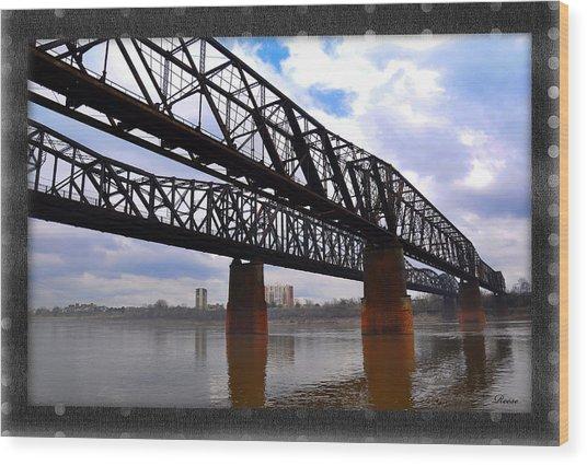 Harrahan Railroad Bridges Wood Print by Reese Lewis