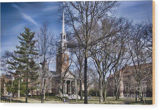 Harvard University Old Yard Church Wood Print