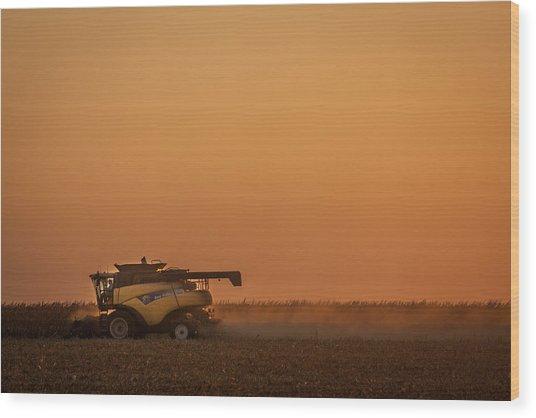 Harvest At Sunset Wood Print