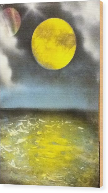 Harvest Moon Wood Print by Angel Griffin
