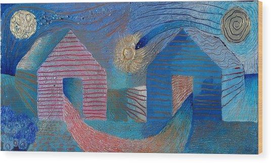 Harvest Moon On The Wish-farm Wood Print